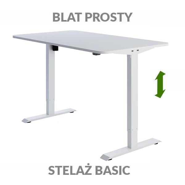 Biurko regulowane elektrycznie Fly-Desk blat prosty stelaż Basic biało-białe