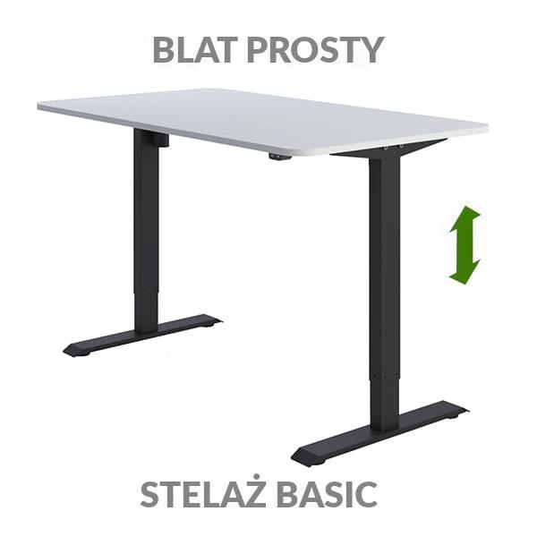 Biurko regulowane elektrycznie Fly-Desk blat prosty stelaż Basic biało-czarne