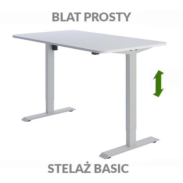 Biurko regulowane elektrycznie Fly-Desk blat prosty stelaż Basic biało-szare
