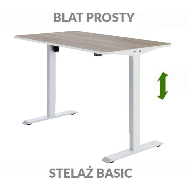 Biurko regulowane elektrycznie Fly-Desk blat prosty stelaż Basic drewniane białe