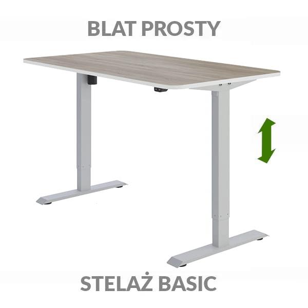 Biurko regulowane elektrycznie Fly-Desk blat prosty stelaż Basic drewniane szare