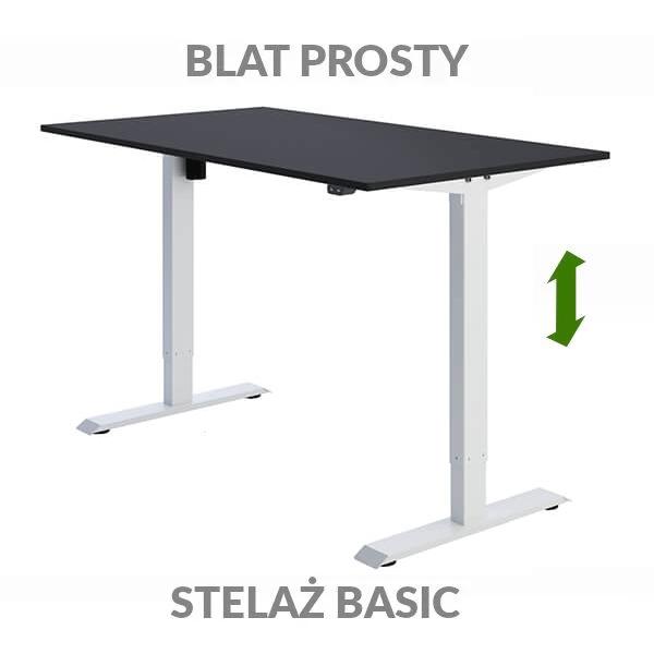 Biurko regulowane elektrycznie Fly-Desk blat prosty stelaż Basic czarno-białe