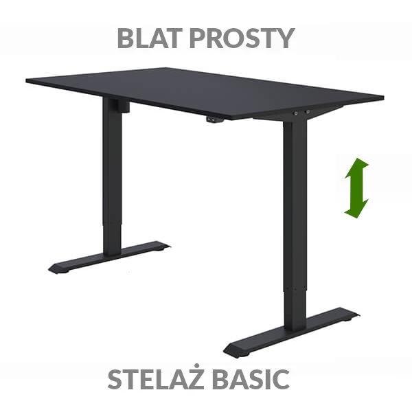 Biurko regulowane elektrycznie Fly-Desk blat prosty stelaż Basic czarno-czarne
