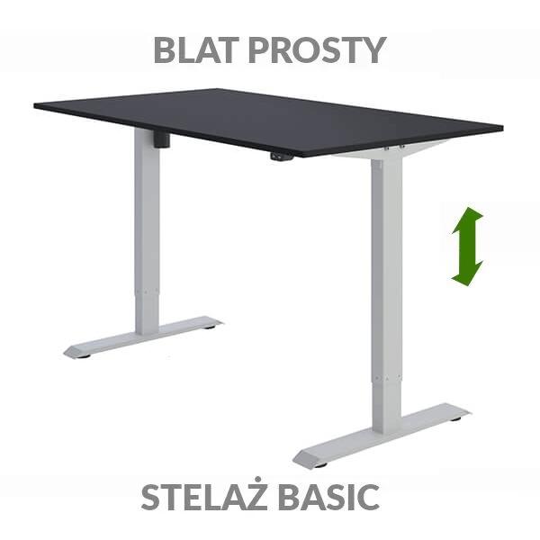 Biurko regulowane elektrycznie Fly-Desk blat prosty stelaż Basic czarno-szare