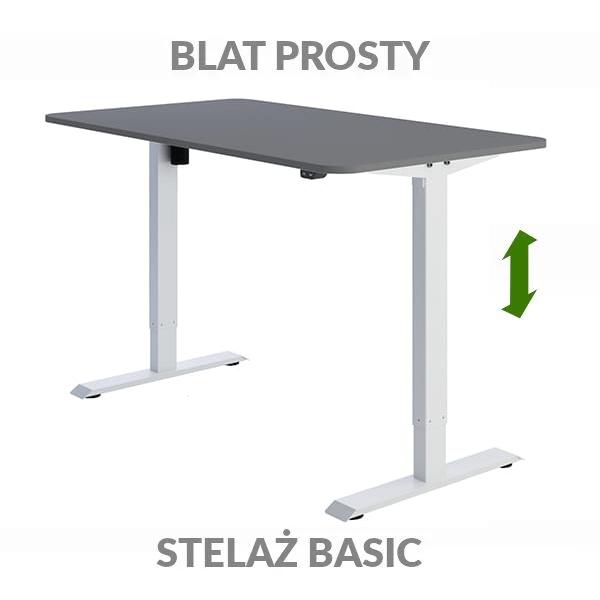Biurko regulowane elektrycznie Fly-Desk blat prosty stelaż Basic szaro-białe