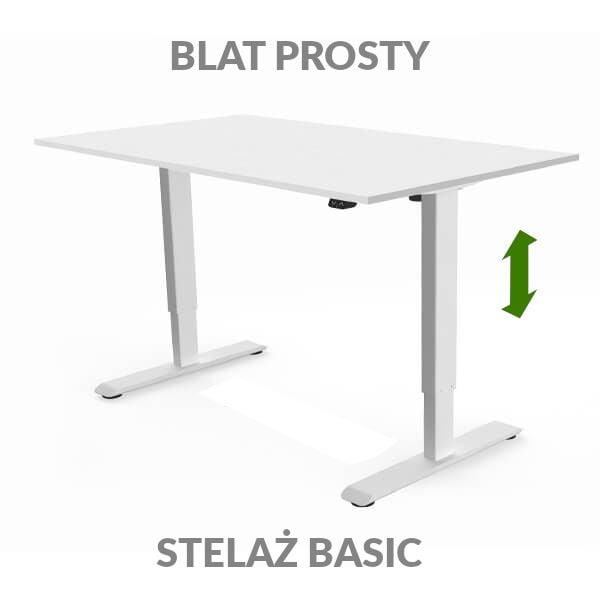 Biurko regulowane elektycznie Fly Desk biało-białe. blat prosty / stelaż Basic