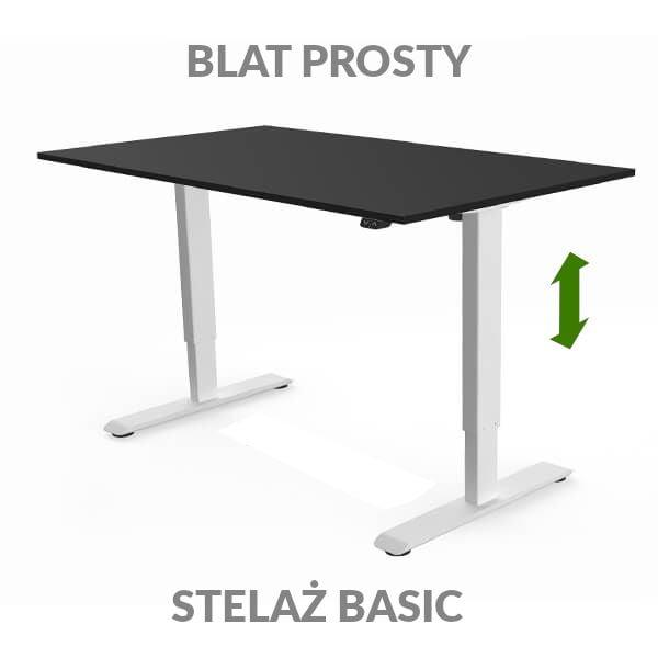 Biurko regulowane elektycznie Fly Desk czarno-białe. blat prosty / stelaż Basic