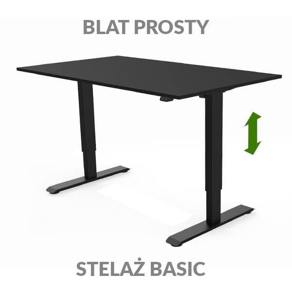 Biurko regulowane elektycznie Fly Desk czarno-czarne. blat prosty / stelaż Basic