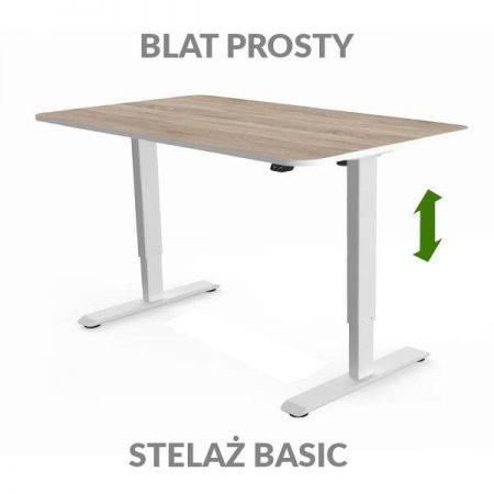 Biurko regulowane elektycznie Fly Desk drewniane / białe. blat prosty / stelaż Basic