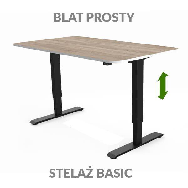 Biurko regulowane elektycznie Fly Desk drewniane / czarne. blat prosty / stelaż Basic