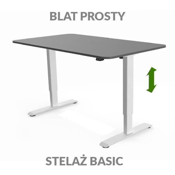 Biurko regulowane elektycznie Fly Desk grafitowo-białe. blat prosty / stelaż Basic