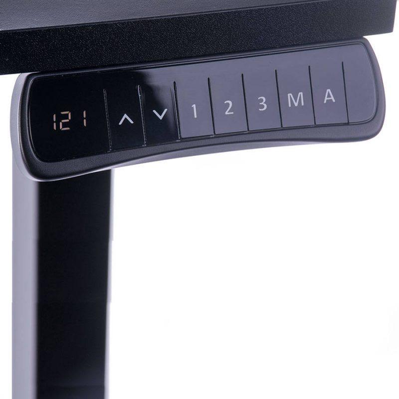 Biurko regulowane elektrycznie Fly-Desk blat prosty stelaż Basic czarno-czarne panel sterujący