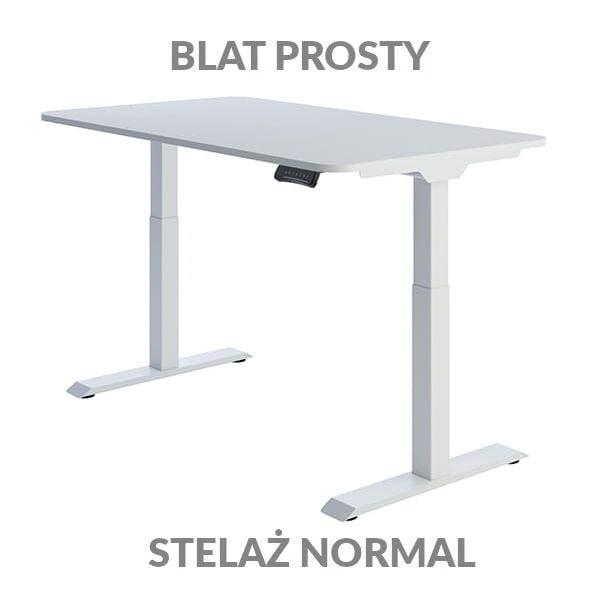 Biurko regulowane elektycznie Fly Desk Blat Prosty Biały / stelaż NORMAL Biały Narożnik zaokrąglony
