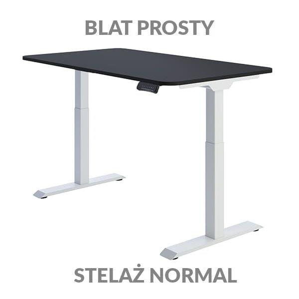 Biurko regulowane elektycznie Fly Desk Blat Prosty Czarny / stelaż NORMAL Biały Narożnik zaokrąglony