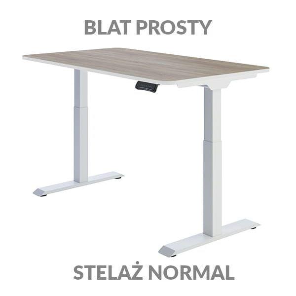 Biurko regulowane elektycznie Fly Desk Blat Prosty Drewniany / stelaż NORMAL Biały Narożnik zaokrąglony