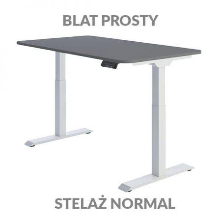 Biurko regulowane elektycznie Fly Desk Blat Prosty Szary / stelaż NORMAL Biały Narożnik zaokrąglony