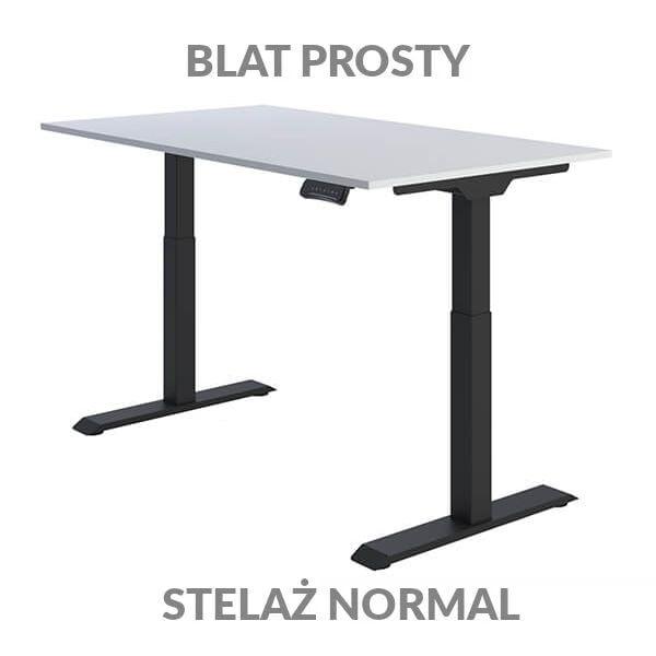 Biurko regulowane elektycznie Fly Desk Blat Prosty Biały / stelaż NORMAL Czarny Narożnik prosty