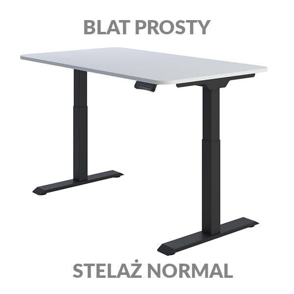Biurko regulowane elektycznie Fly Desk Blat Prosty Biały / stelaż NORMAL Czarny Narożnik zaokrąglony