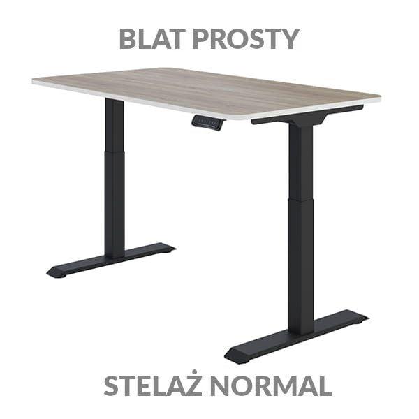 Biurko regulowane elektycznie Fly Desk Blat Prosty Drewniany / stelaż NORMAL Czarny Narożnik zaokrąglony