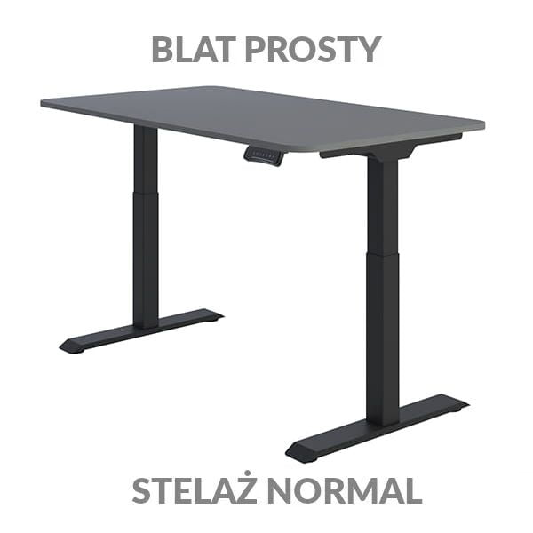 Biurko regulowane elektycznie Fly Desk Blat Prosty Szary / stelaż NORMAL Czarny Narożnik zaokrąglony