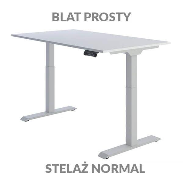 Biurko regulowane elektycznie Fly Desk Blat Prosty Biały / stelaż NORMAL Szary Narożnik prosty