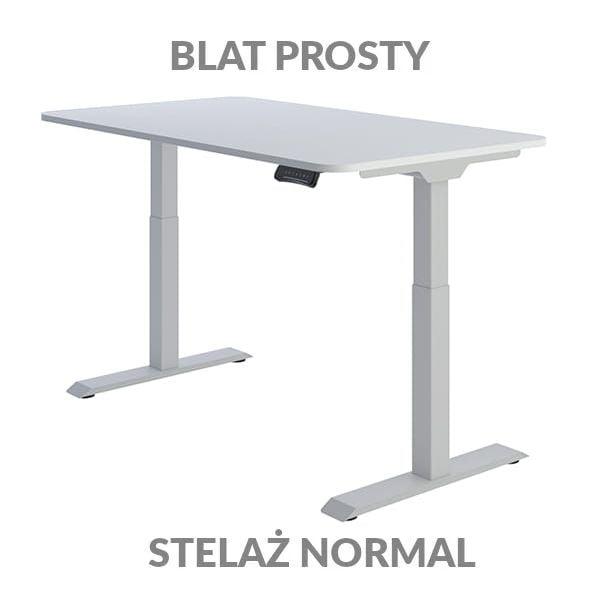 Biurko regulowane elektycznie Fly Desk Blat Prosty Biały / stelaż NORMAL Szary Narożnik zaokrąglony