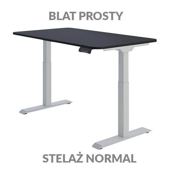 Biurko regulowane elektycznie Fly Desk Blat Prosty Czarny / stelaż NORMAL Szary Narożnik zaokrąglony