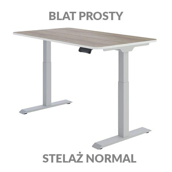 Biurko regulowane elektycznie Fly Desk Blat Prosty Drewniany / stelaż NORMAL Szary Narożnik zaokrąglony