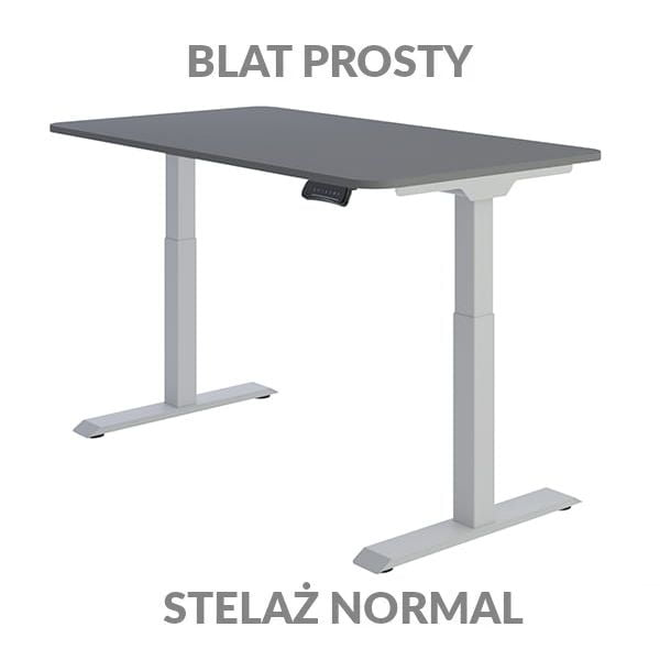 Biurko regulowane elektycznie Fly Desk Blat Prosty Grafitowy / stelaż NORMAL Szary Narożnik zaokrąglony