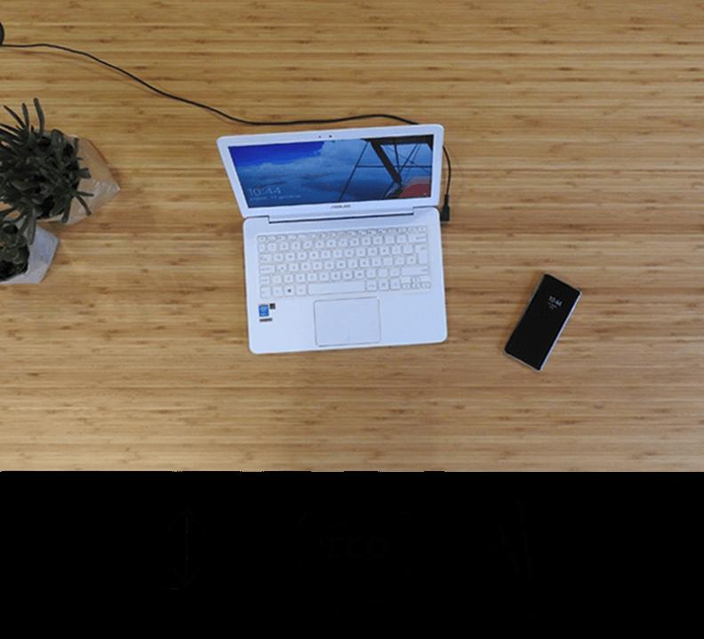 Biurko Fly-Desk z blatem bambusowym ekologicznym. Wesja Basic, Normal, Premium