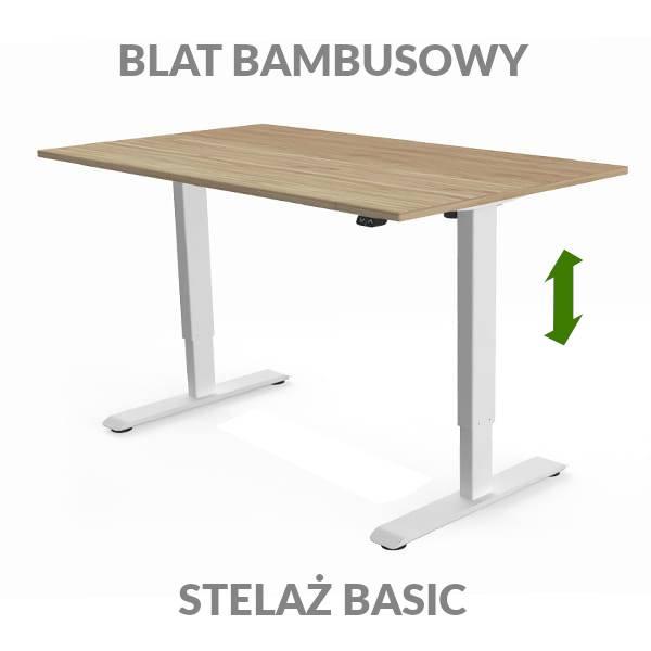 Biurko podnoszone elektycznie Fly Desk. Blat bambusowy / stelaż BASIC biały