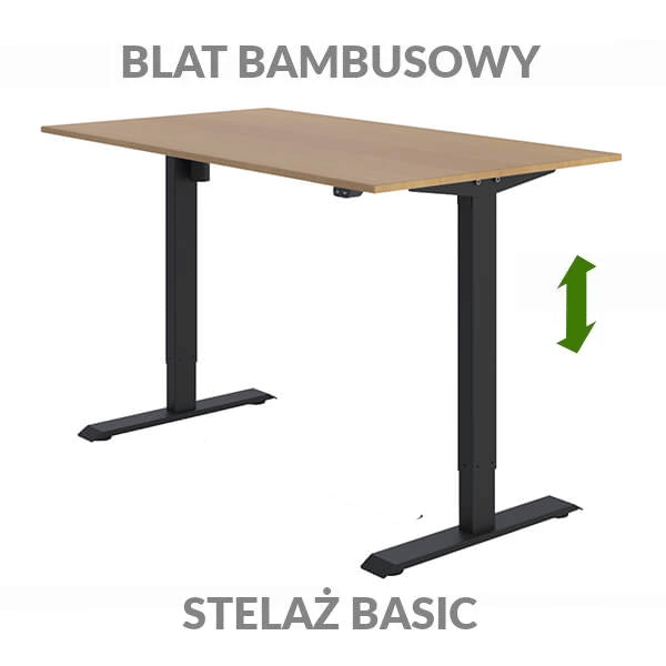 Biurko podnoszone elektycznie Fly Desk. Blat bambusowy / stelaż BASIC czarny