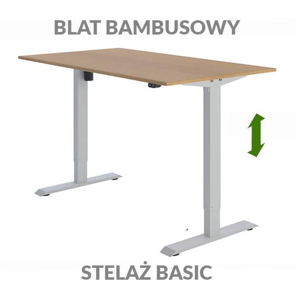 Biurko podnoszone elektycznie Fly Desk. Blat bambusowy / stelaż BASIC szary