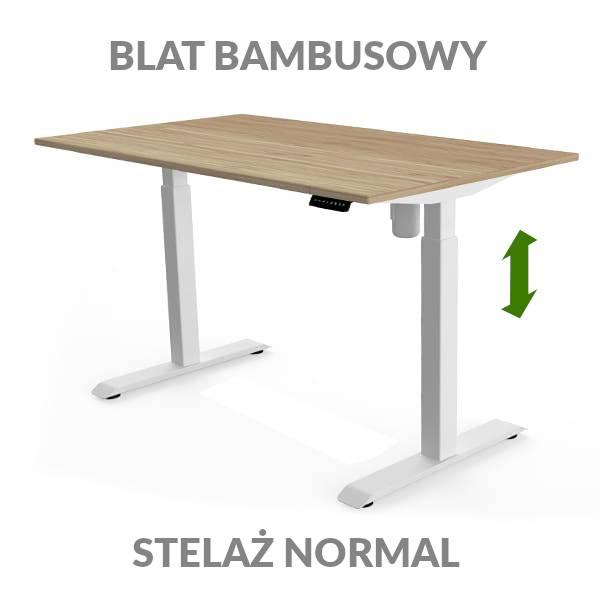 Biurko podnoszone elektycznie Fly Desk. Blat bambusowy / stelaż Normal biały