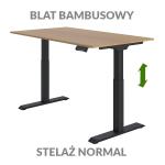 Biurko podnoszone elektycznie Fly Desk. Blat bambusowy / stelaż Normal czarny