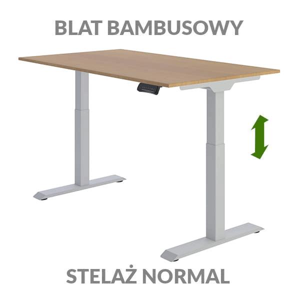 Biurko podnoszone elektycznie Fly Desk. Blat bambusowy / stelaż Normal szary