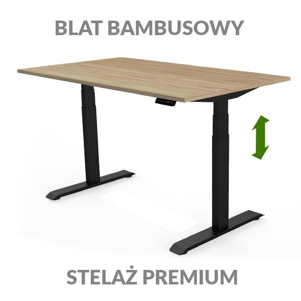 Biurko podnoszone elektycznie Fly Desk. Blat bambusowy / stelaż Premium czarny