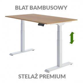 Biurko podnoszone elektycznie Fly Desk. Blat bambusowy / stelaż Premium biały