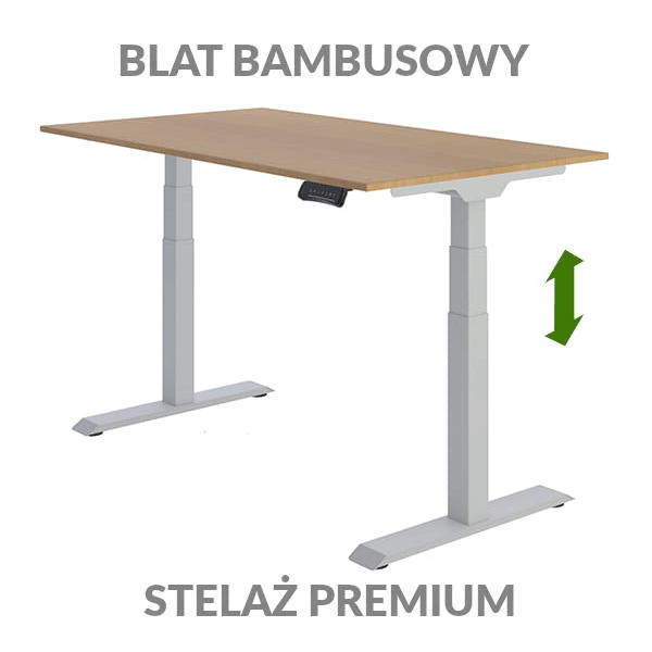Biurko podnoszone elektycznie Fly Desk. Blat bambusowy / stelaż Premium szary
