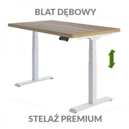Biurko podnoszone elektrycznie Fly Desk. Blat Dębowy / stelaż Premium biały