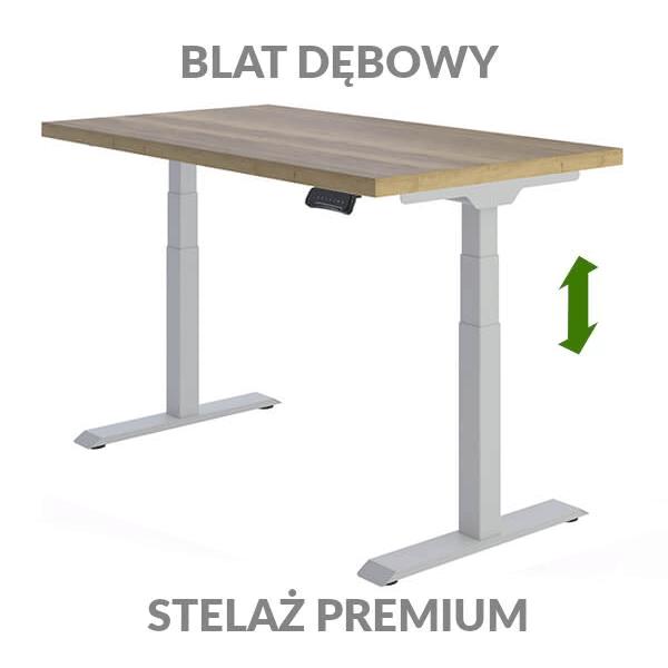 Biurko podnoszone elektrycznie Fly Desk. Blat Dębowy / stelaż Premium szary
