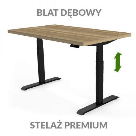 Biurko podnoszone elektrycznie Fly Desk. Blat Dębowy / stelaż Premium czarny