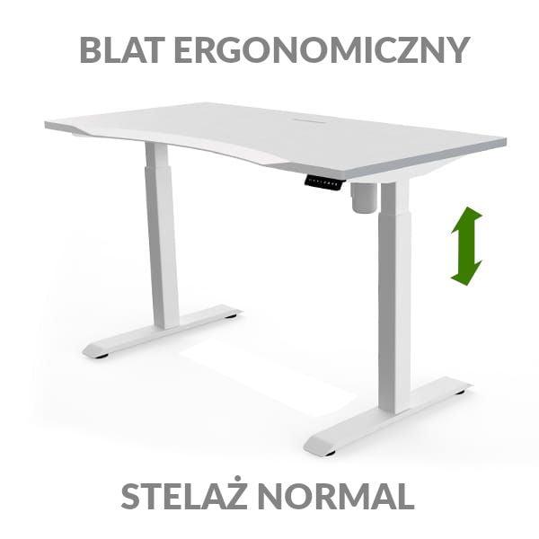 Biurko podnoszone elektycznie Fly Desk biało-białe. Blat ergonomiczny / stelaż NORMAL