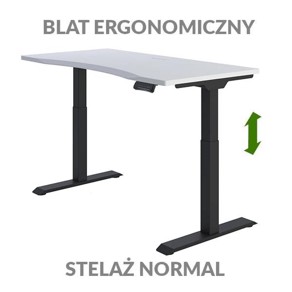 Biurko podnoszone elektycznie Fly Desk biało-czarne. Blat ergonomiczny / stelaż NORMAL