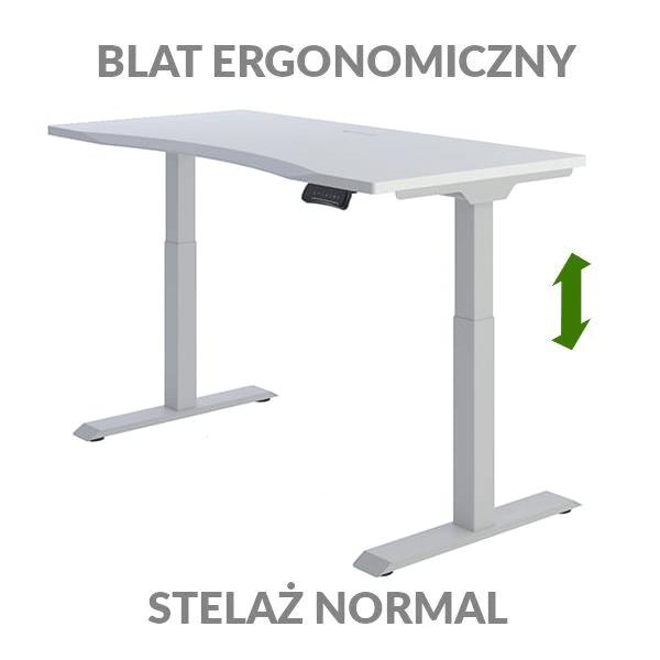 Biurko podnoszone elektycznie Fly Desk biało-szare. Blat ergonomiczny / stelaż NORMAL