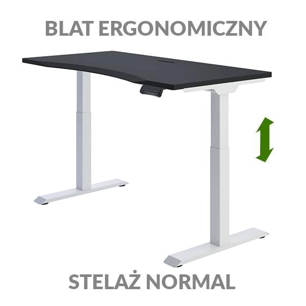 Biurko podnoszone elektycznie Fly Desk czarno-białe. Blat ergonomiczny / stelaż NORMAL
