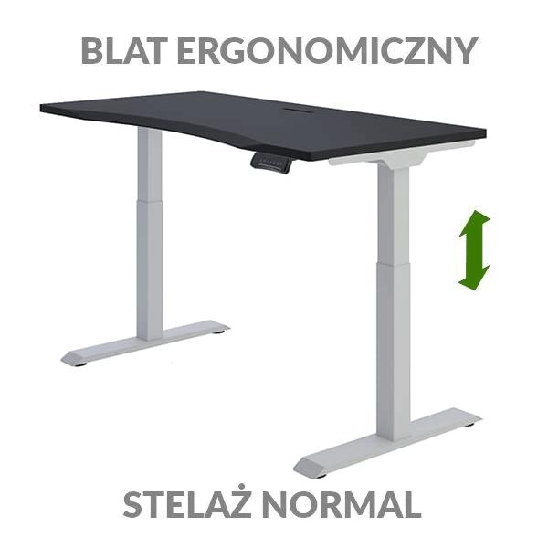 Biurko podnoszone elektycznie Fly Desk czarno-szare. Blat ergonomiczny / stelaż NORMAL
