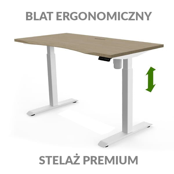 Biurko podnoszone elektycznie Fly Desk drewniano-białe. Blat ergonomiczny / stelaż NORMAL