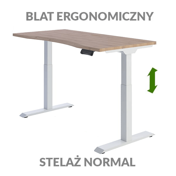 Biurko podnoszone elektycznie Fly Desk drewniane białe. Blat ergonomiczny / stelaż NORMAL