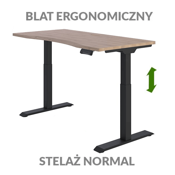 Biurko podnoszone elektycznie Fly Desk drewniane czarne. Blat ergonomiczny / stelaż NORMAL